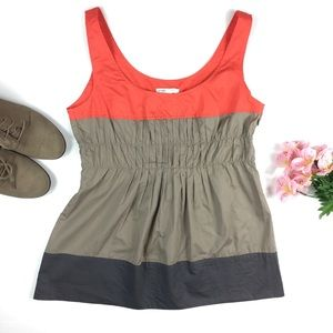 Vince Orange and Tan Color Block Pleated Tank